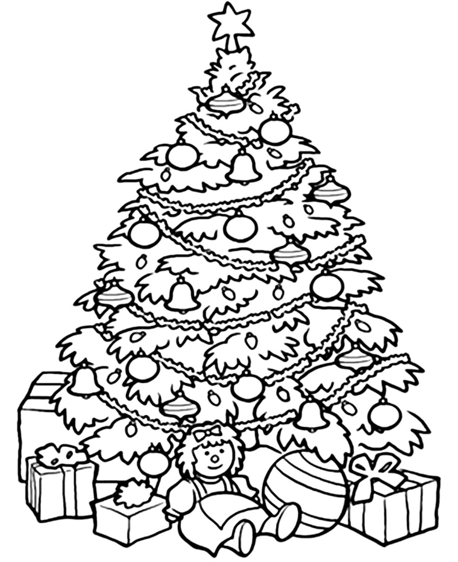 Coloring Pages Of Christmas Tree With Color Page Printable