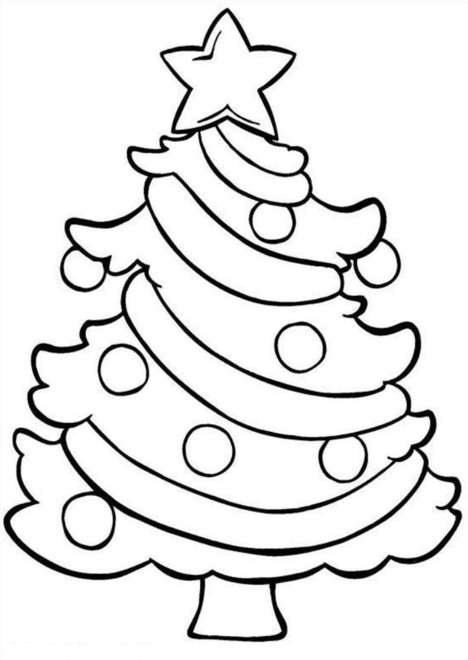 Coloring Pages Of Christmas Tree With Easy