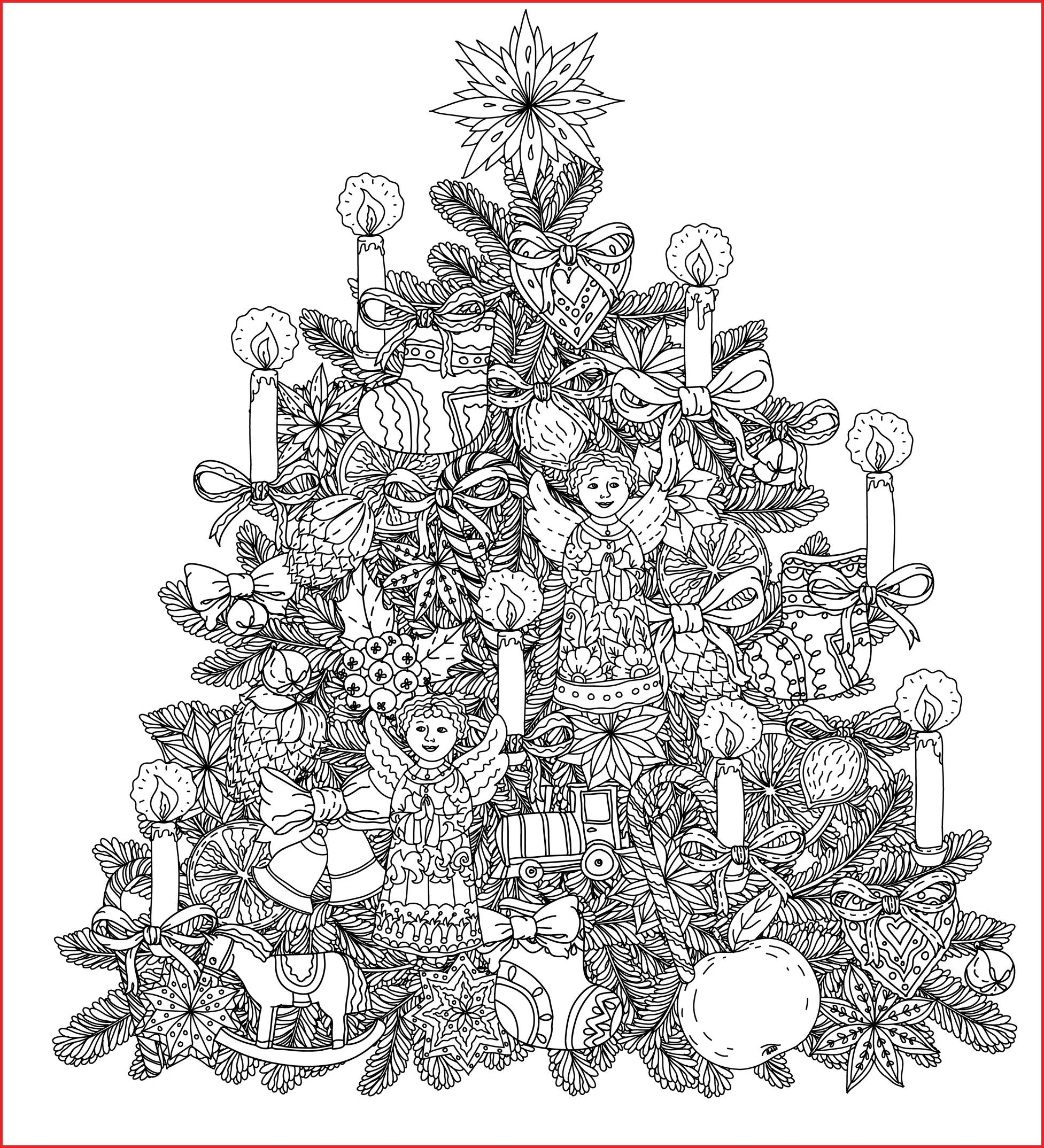 Coloring Pages Of Christmas Tree With Free For Adults 19474
