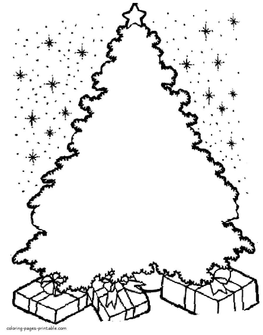Coloring Pages Of Christmas Tree With New Drawing For At Getdrawings