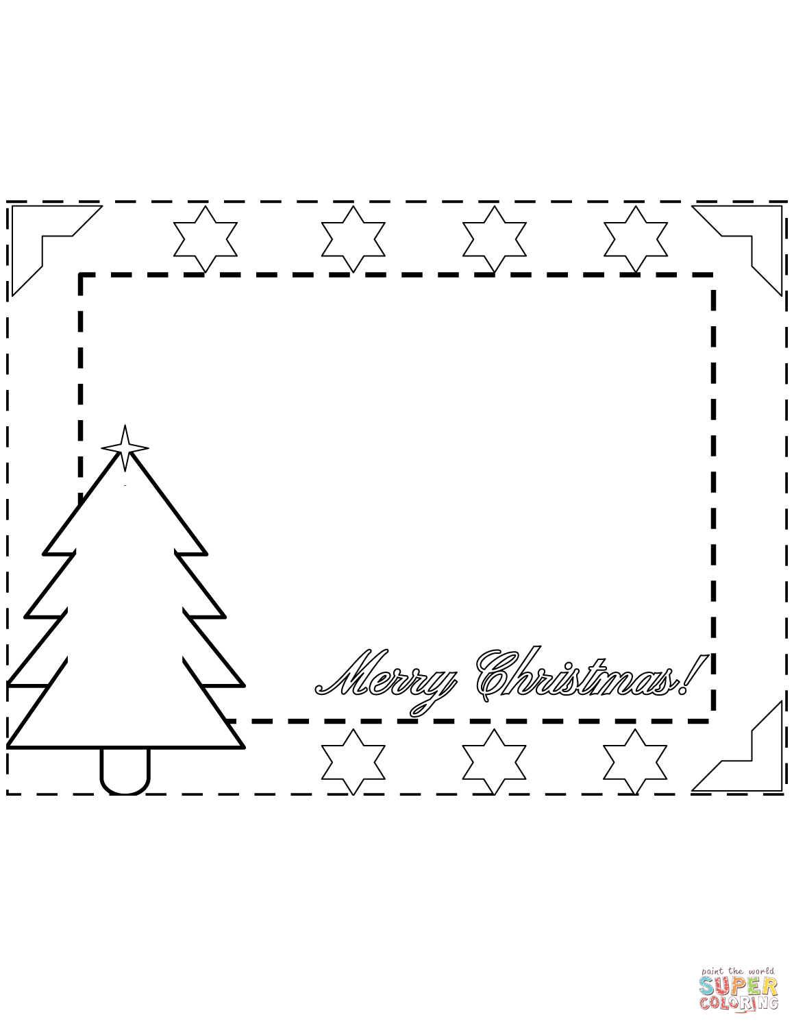 Coloring Pages Of Merry Christmas With Border Page Free Printable