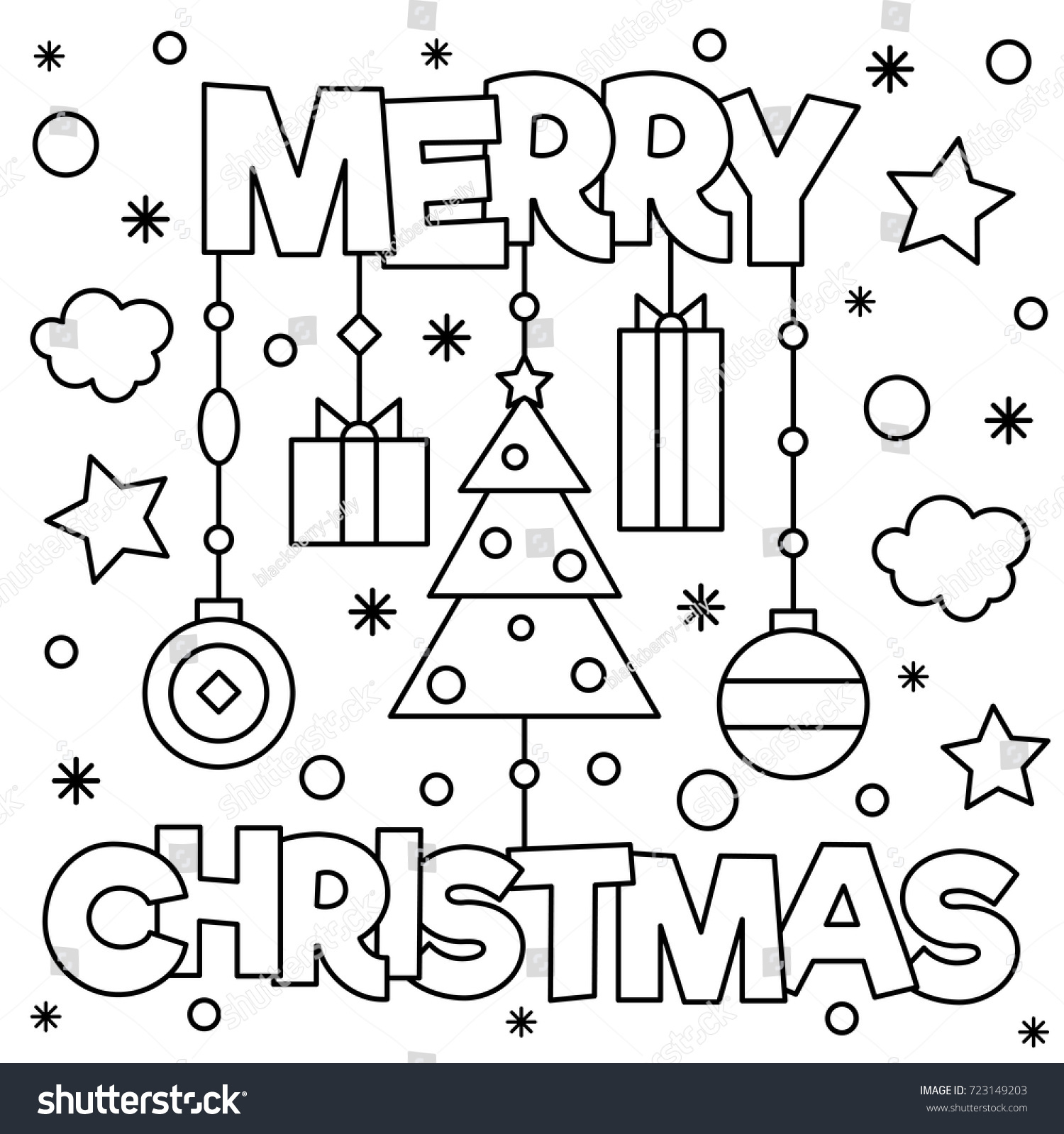 Coloring Pages Of Merry Christmas With Page Vector Illustration Stock