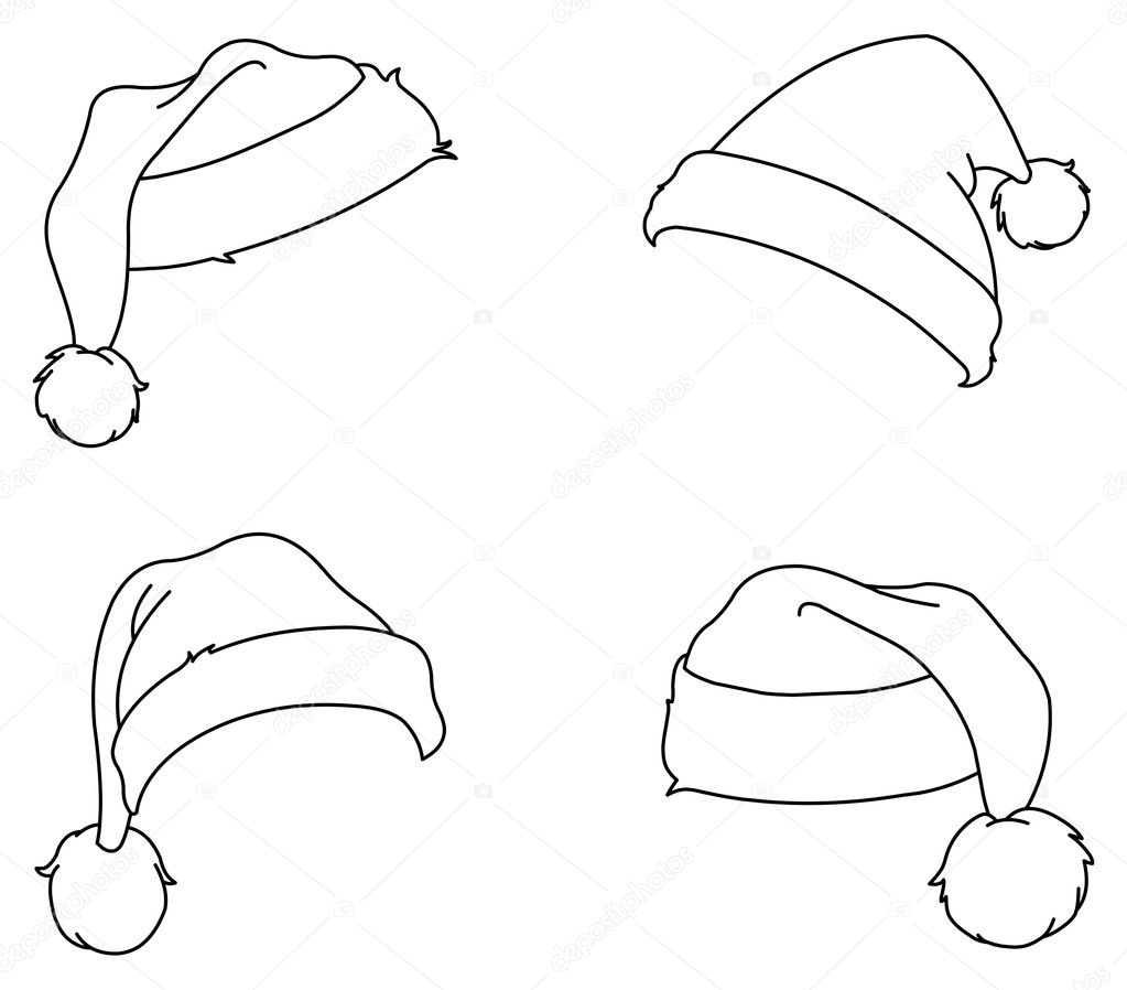 Coloring Santa Hats With Outlined Stock Vector Yayayoyo 7945692