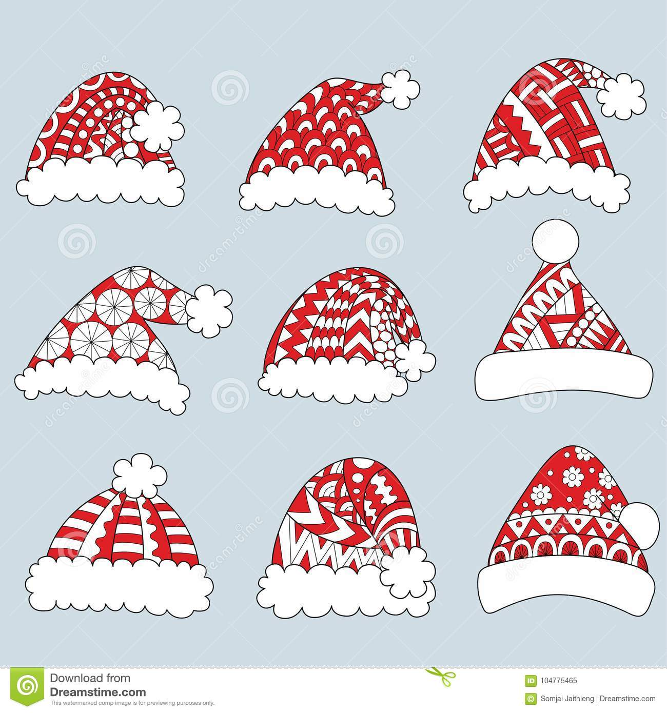 Coloring Santa Hats With Set Of Red On White Background For Design Element And