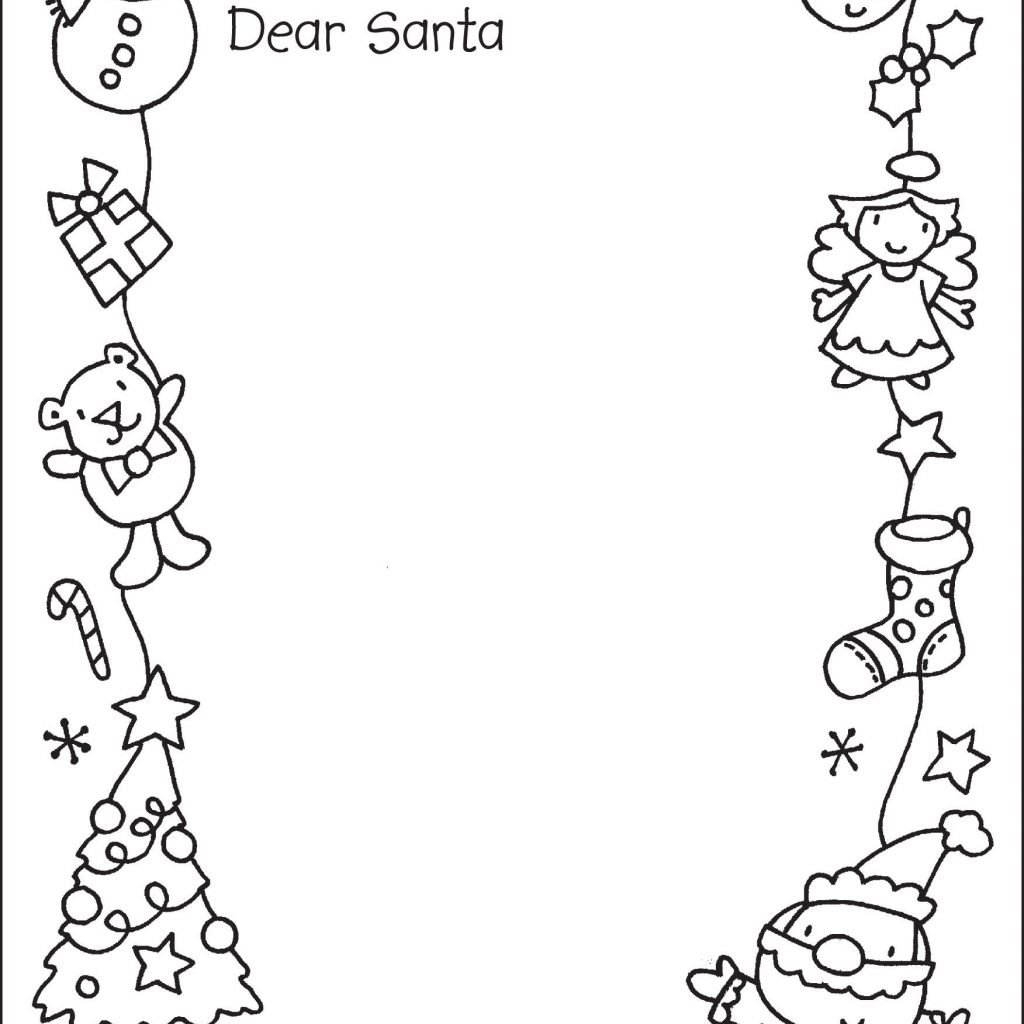 Coloring Santa Letter With To Colour In Christmas Activities For School