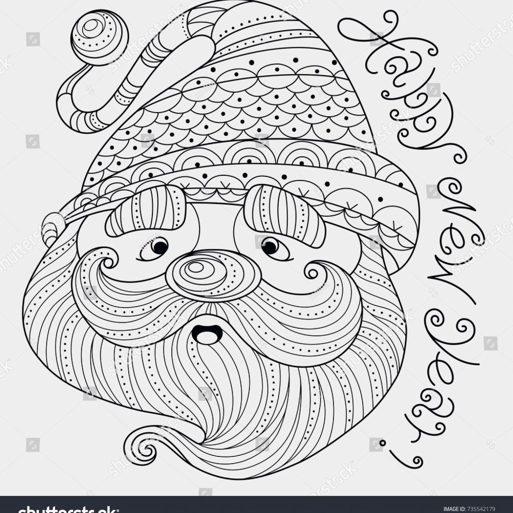 Cute Santa Claus Coloring Pages With Happy New Year Zentangle Stock Vector Royalty Free