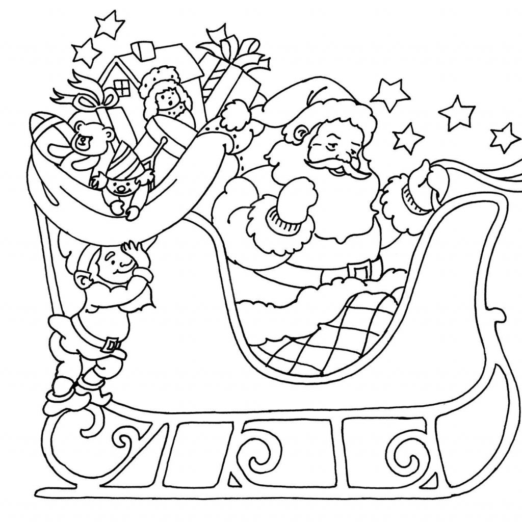 Cute Santa Claus Coloring Pages With On His Sleigh