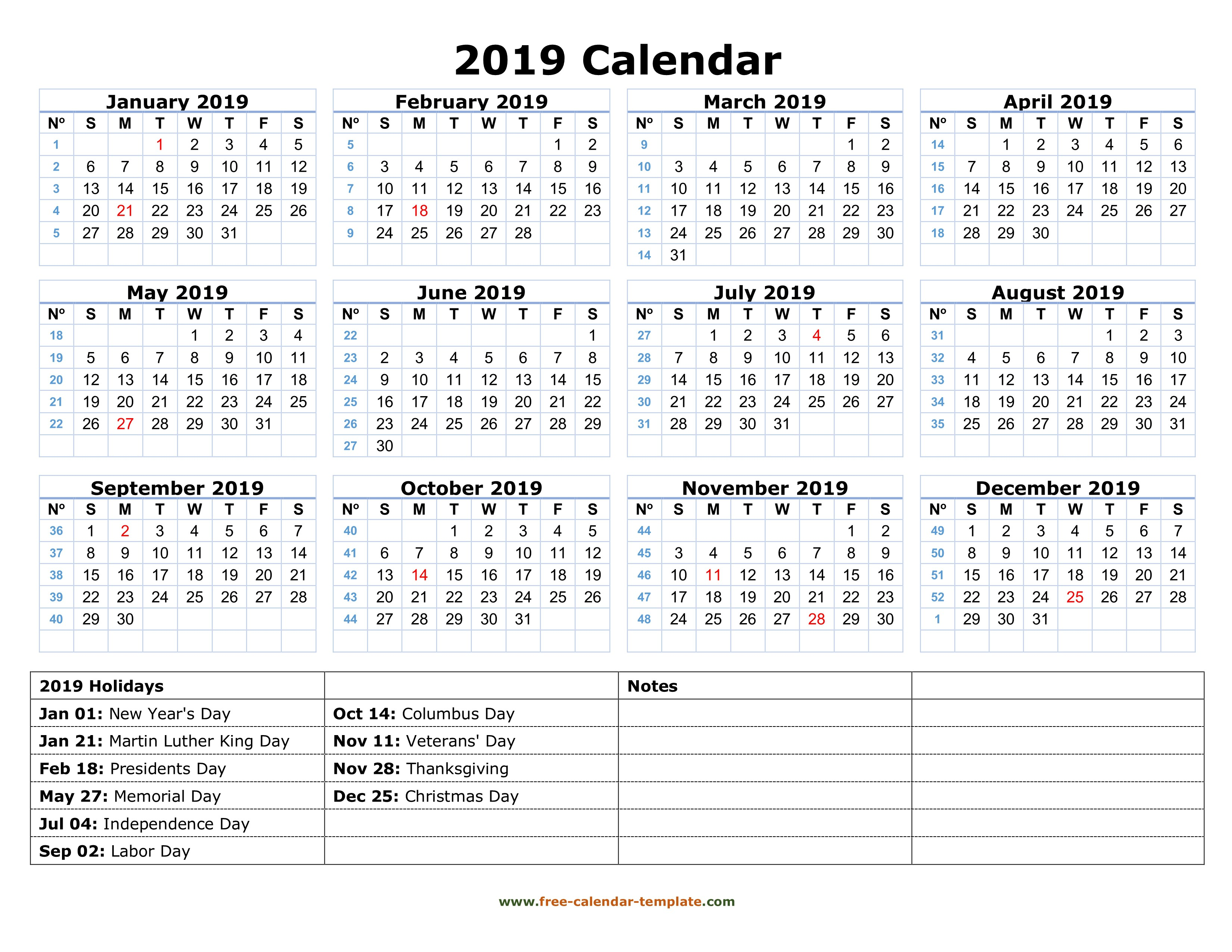Day Of Year Calendar 2019 With Printable Free Yearly