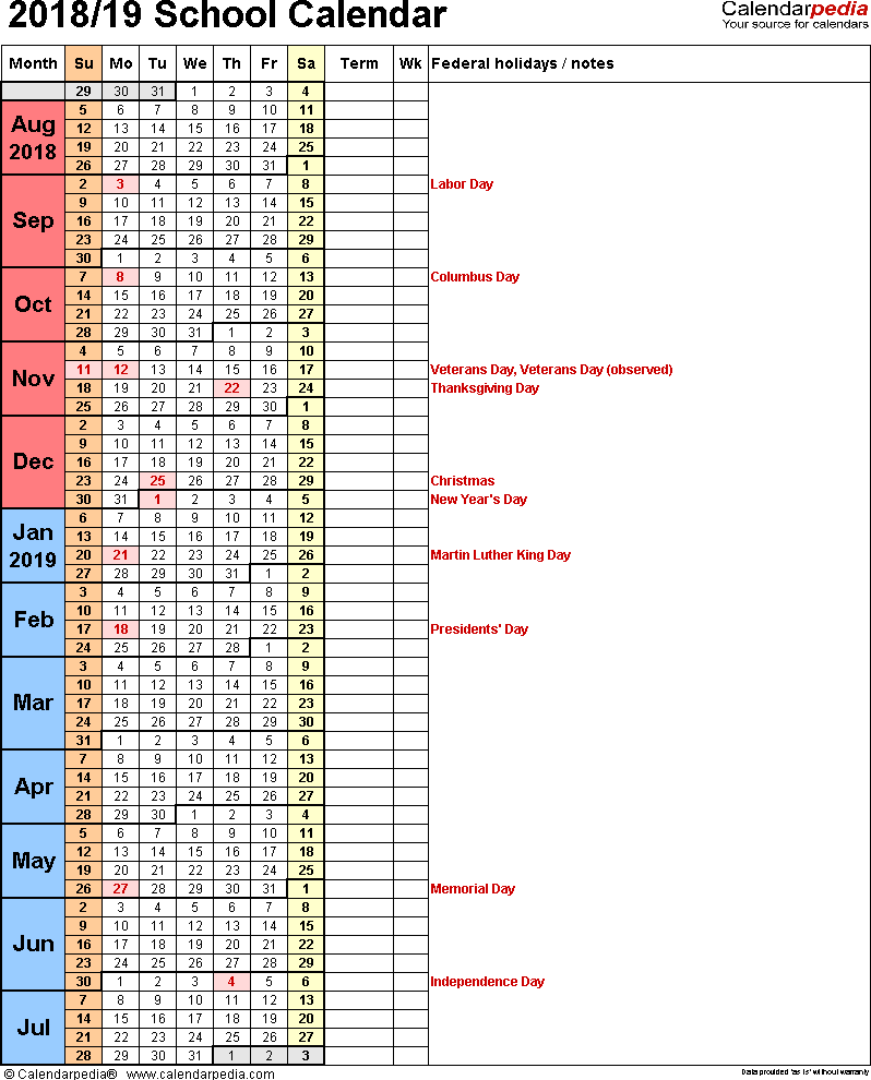 Day Of Year Calendar 2019 With School Calendars 2018 As Free Printable Word Templates