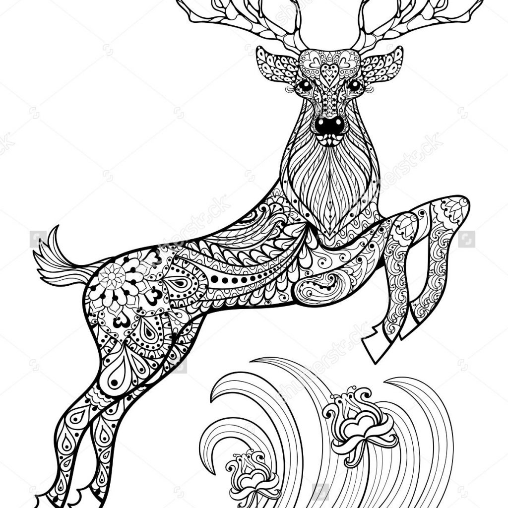 Dear Santa Coloring Page With Deer Pages For Adults Birds In The Grass
