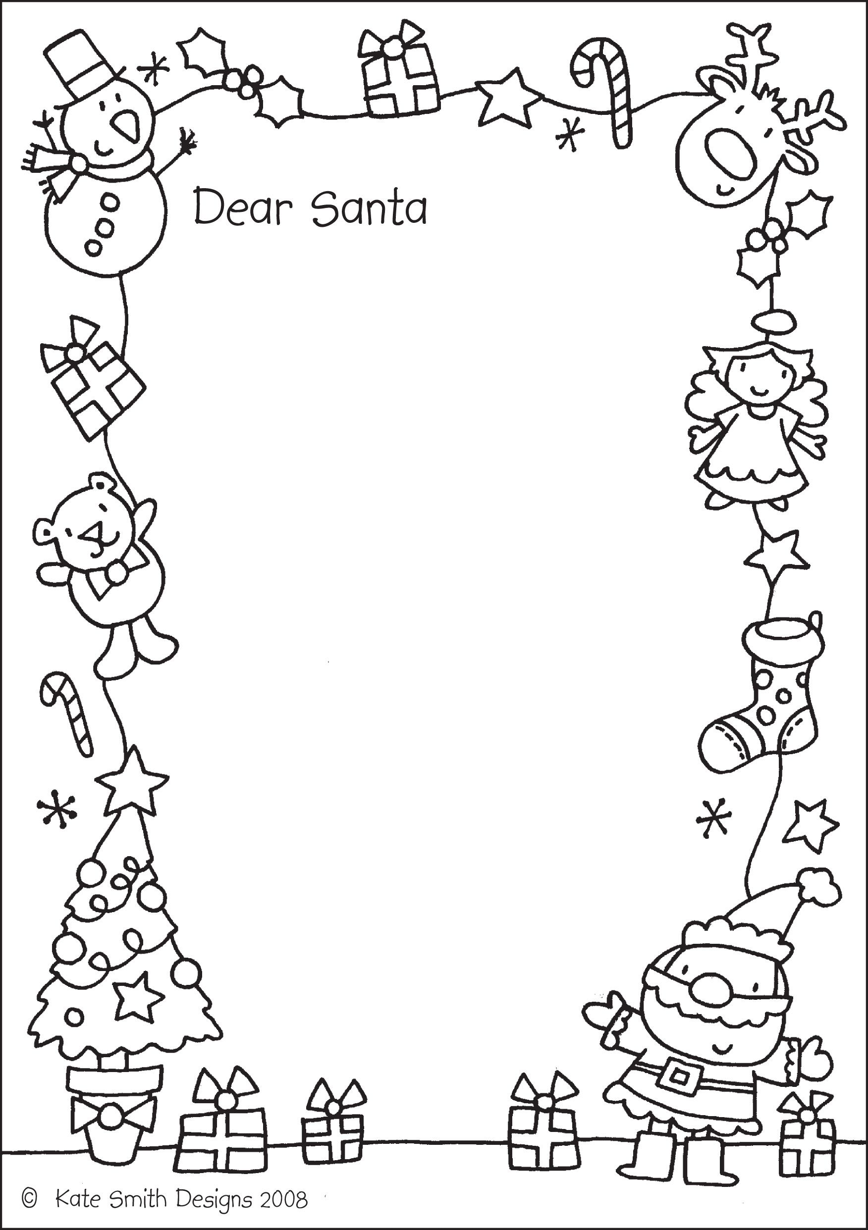 Dear Santa Coloring Page With Dont Forget To Bring Your Letters On 12 2 Christmas