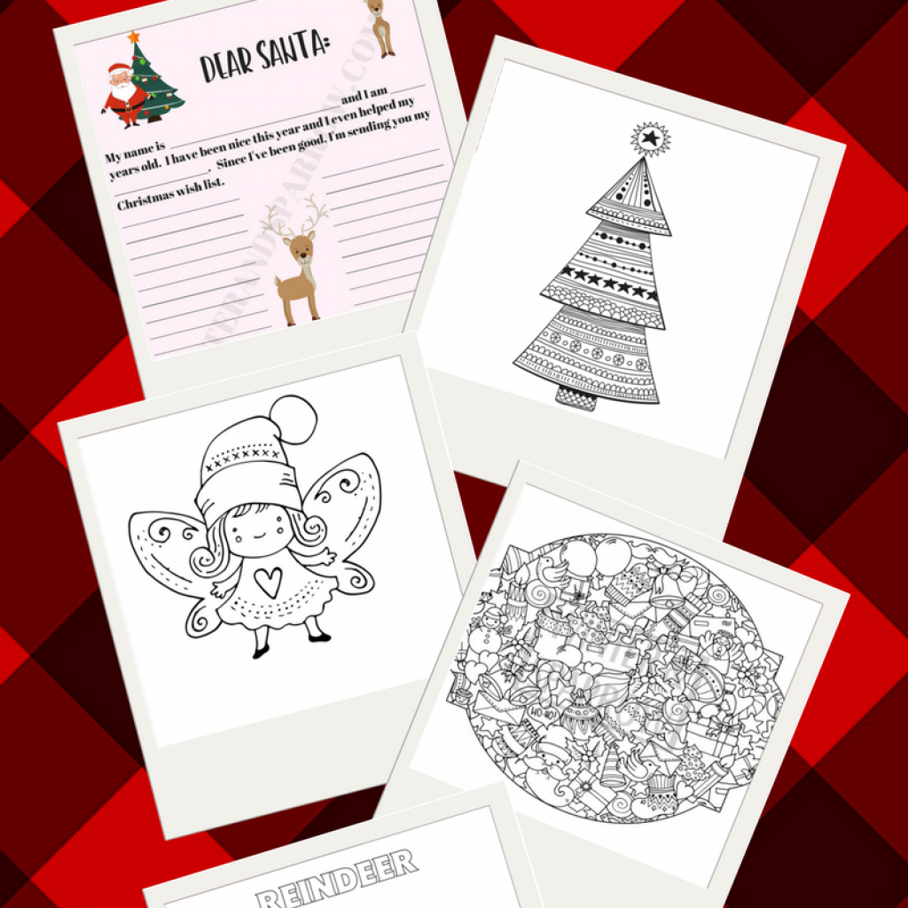 Dear Santa Coloring Page With Free Letter Four Christmas Pages