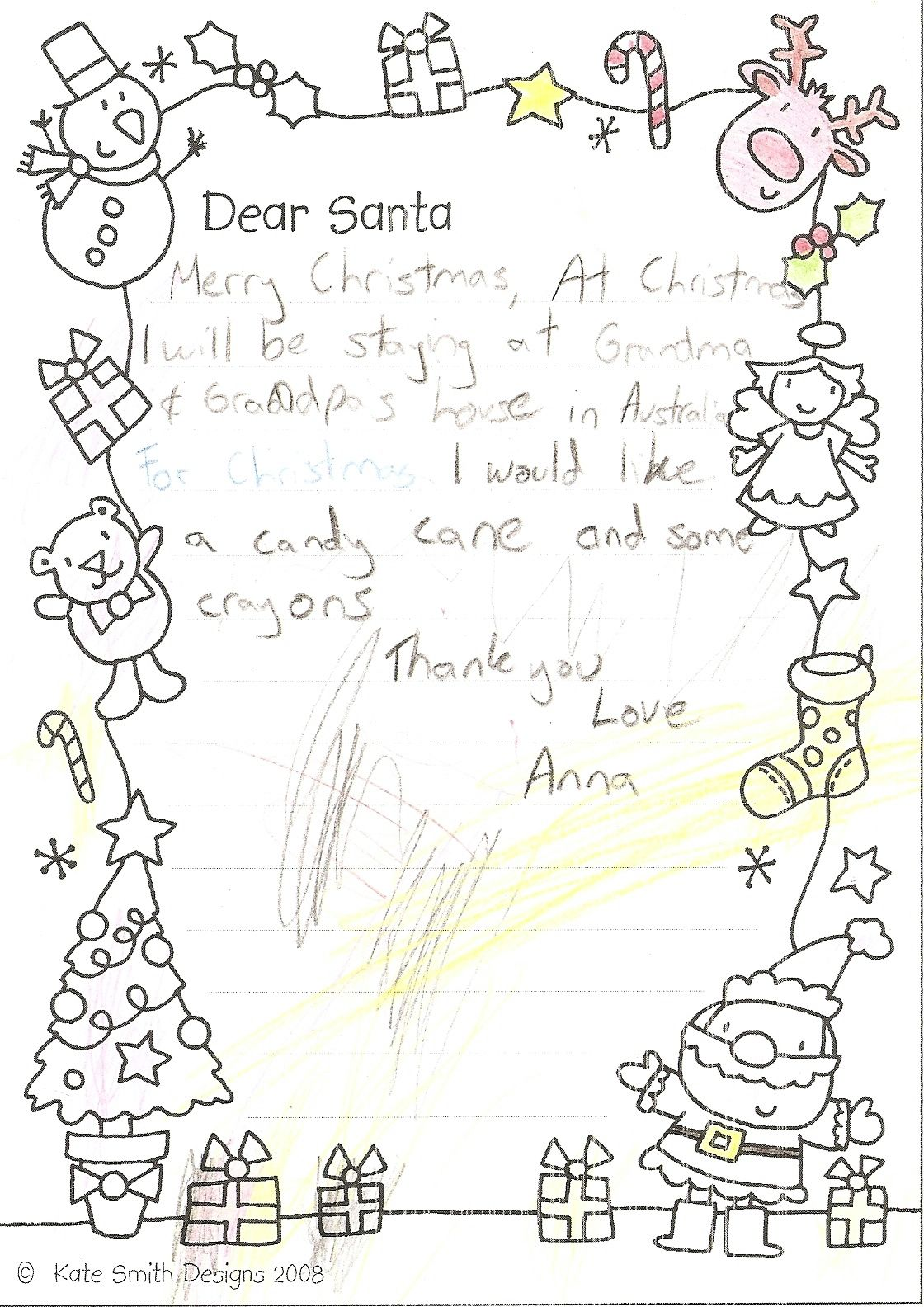 Dear Santa Coloring Page With Letter To For Young Kids Aubrianah And