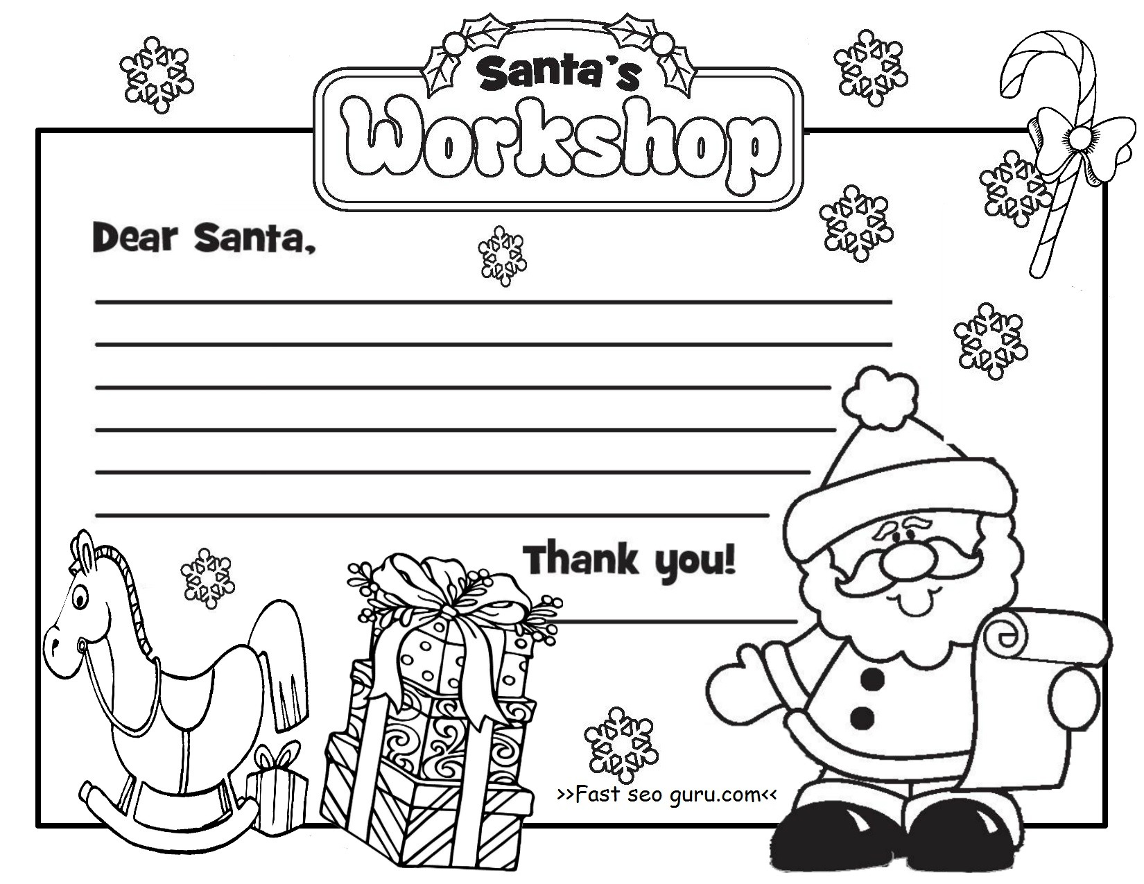 Dear Santa Coloring Pages Print With Claus On His Sleigh Free Christmas Village