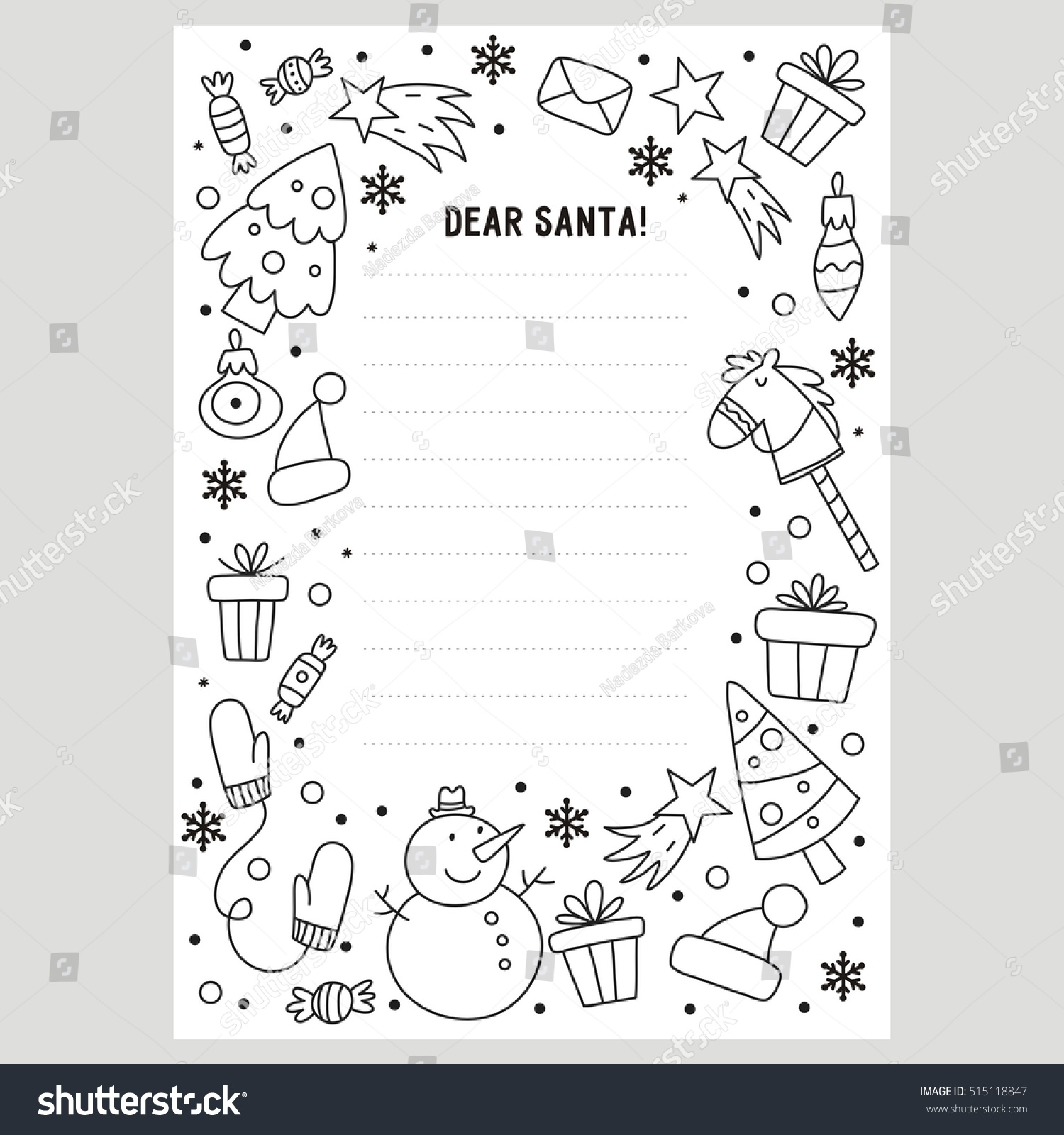 Dear Santa Coloring Pages Print With Letter Page Stock Vector Royalty Free