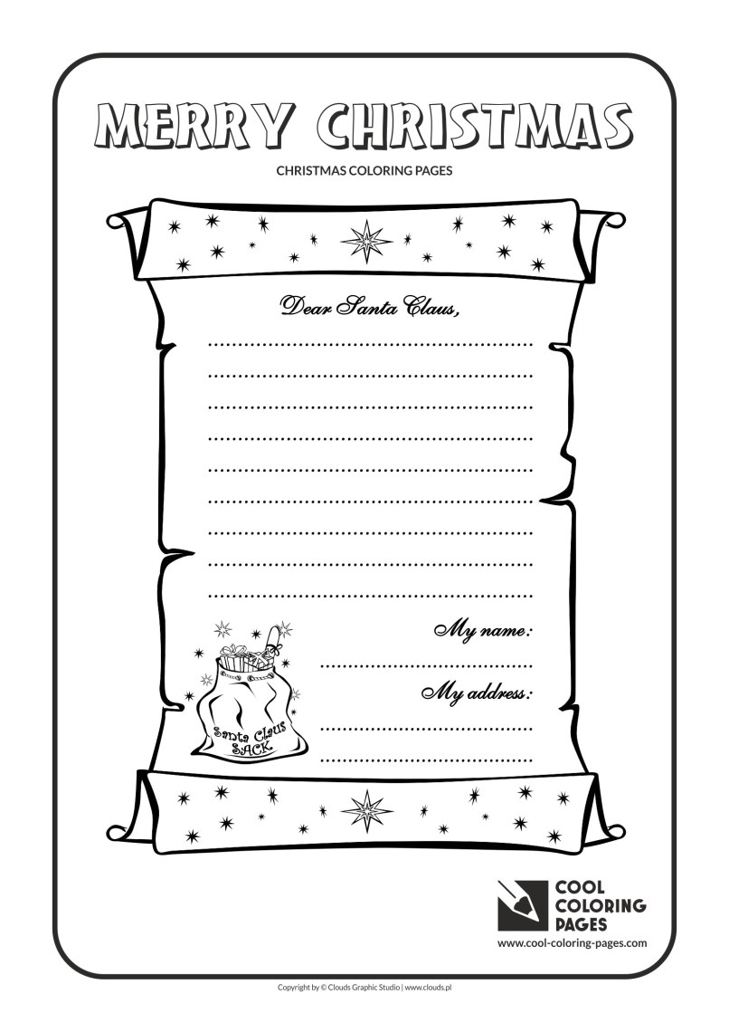 Dear Santa Coloring Pages Print With Printable For Kids