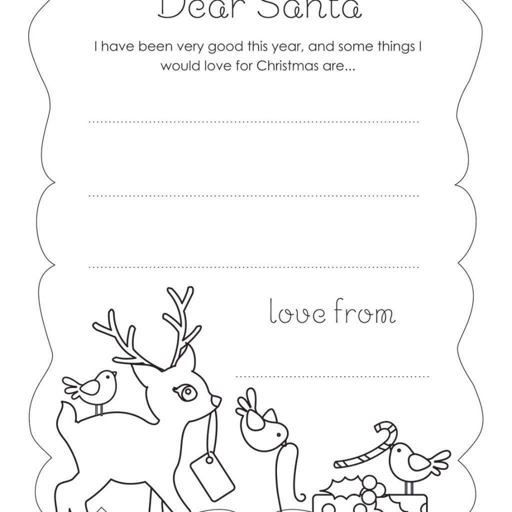 Dear Santa Coloring Pages Print With Printable Letter From Free Templates Blank