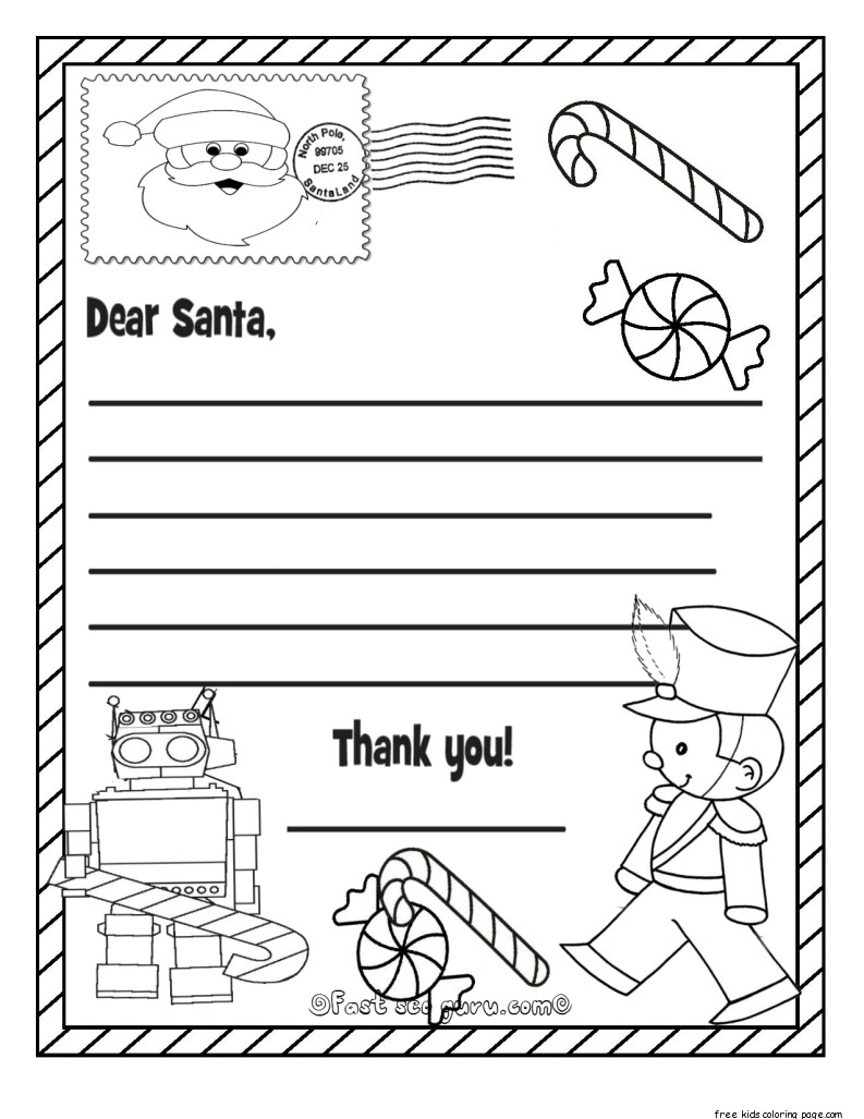 Dear Santa Coloring Pages Print With Wish List