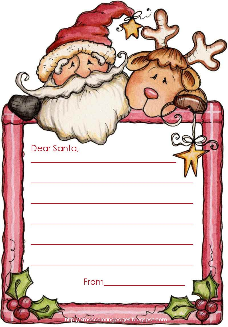 Dear Santa Coloring Pages Print With Write A Letter To These Free Templates Writing