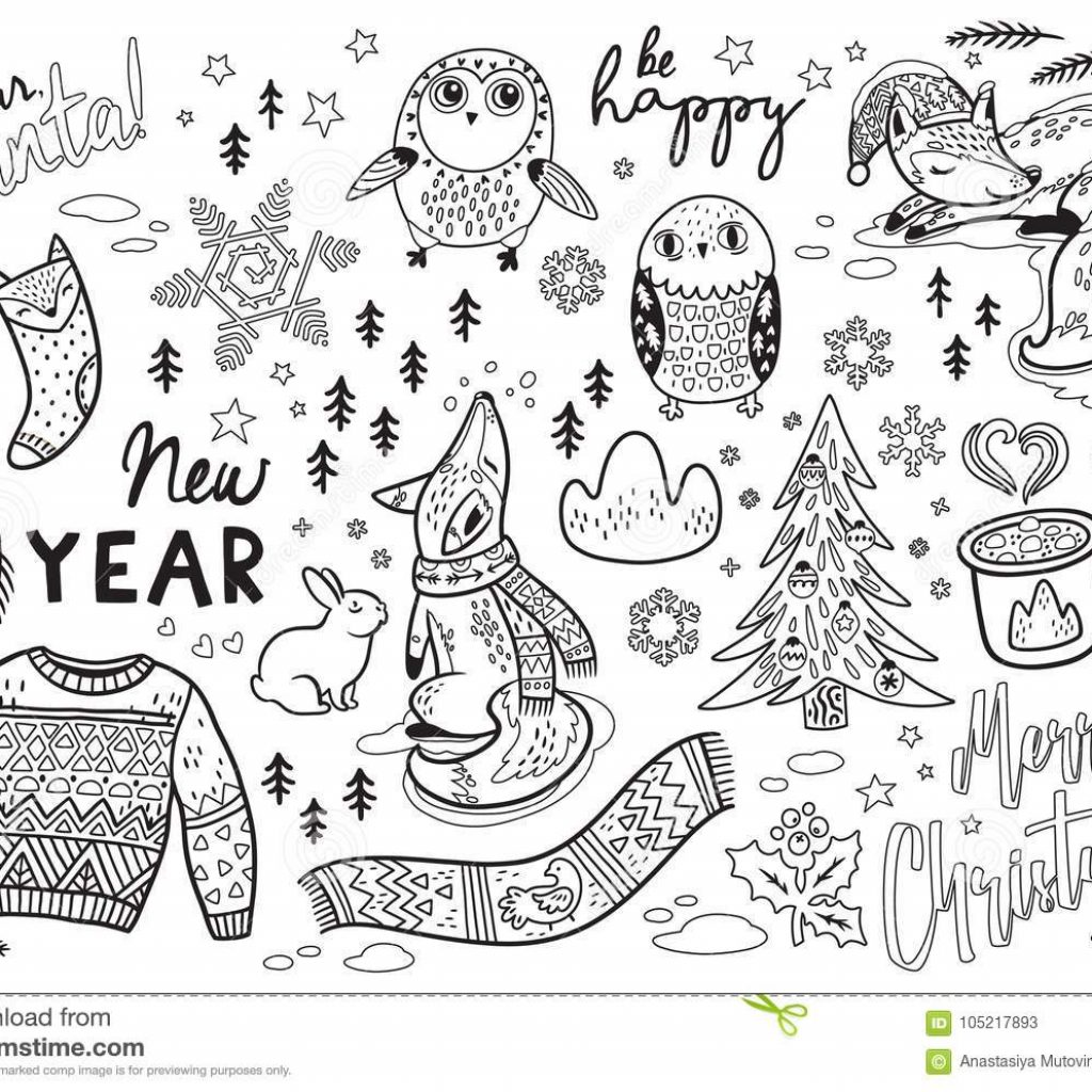 Dear Santa Coloring With Black And White Winter Print In Cartoon Style Vector Illustration