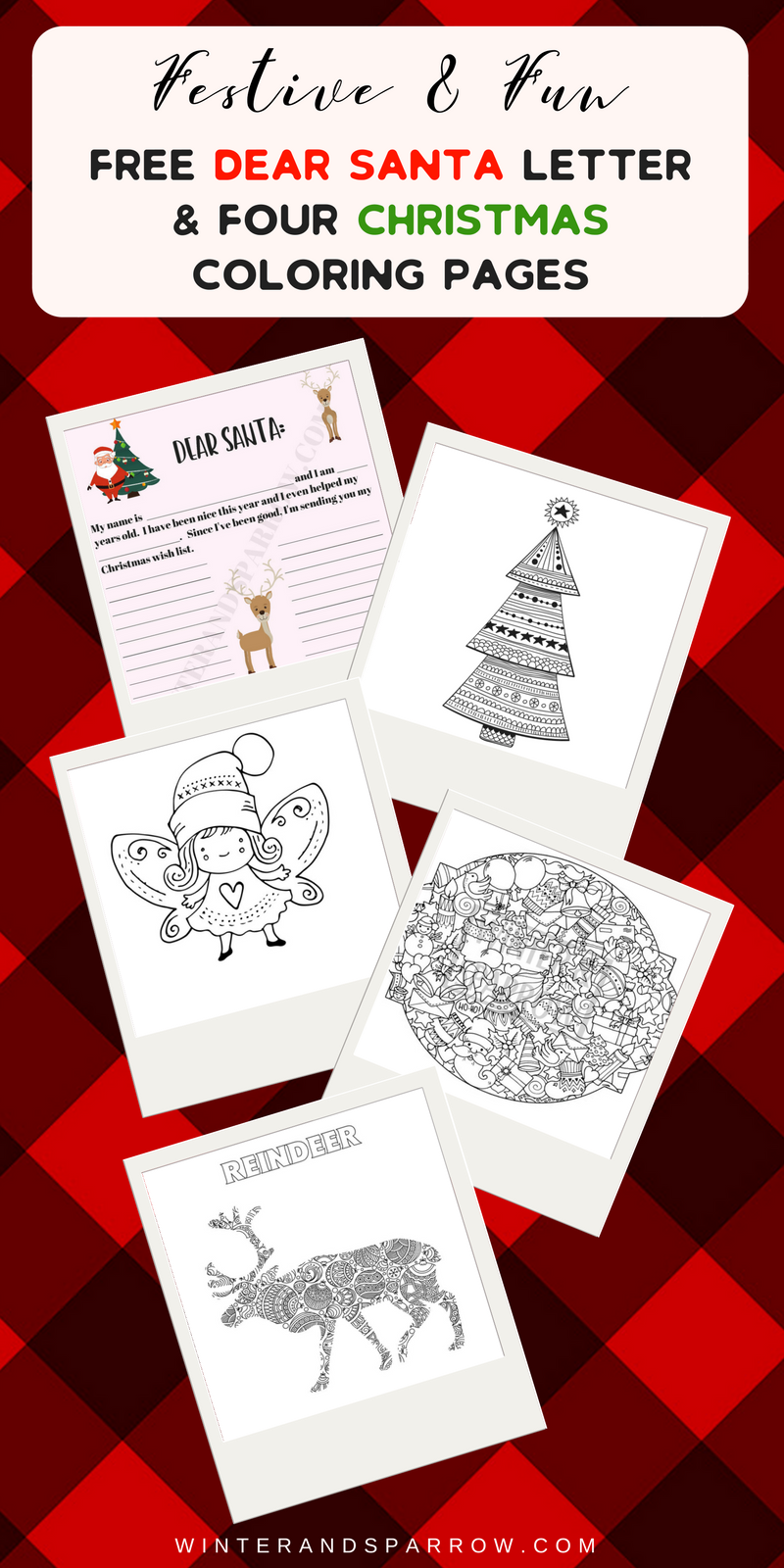 Dear Santa Coloring With Free Letter Four Christmas Pages