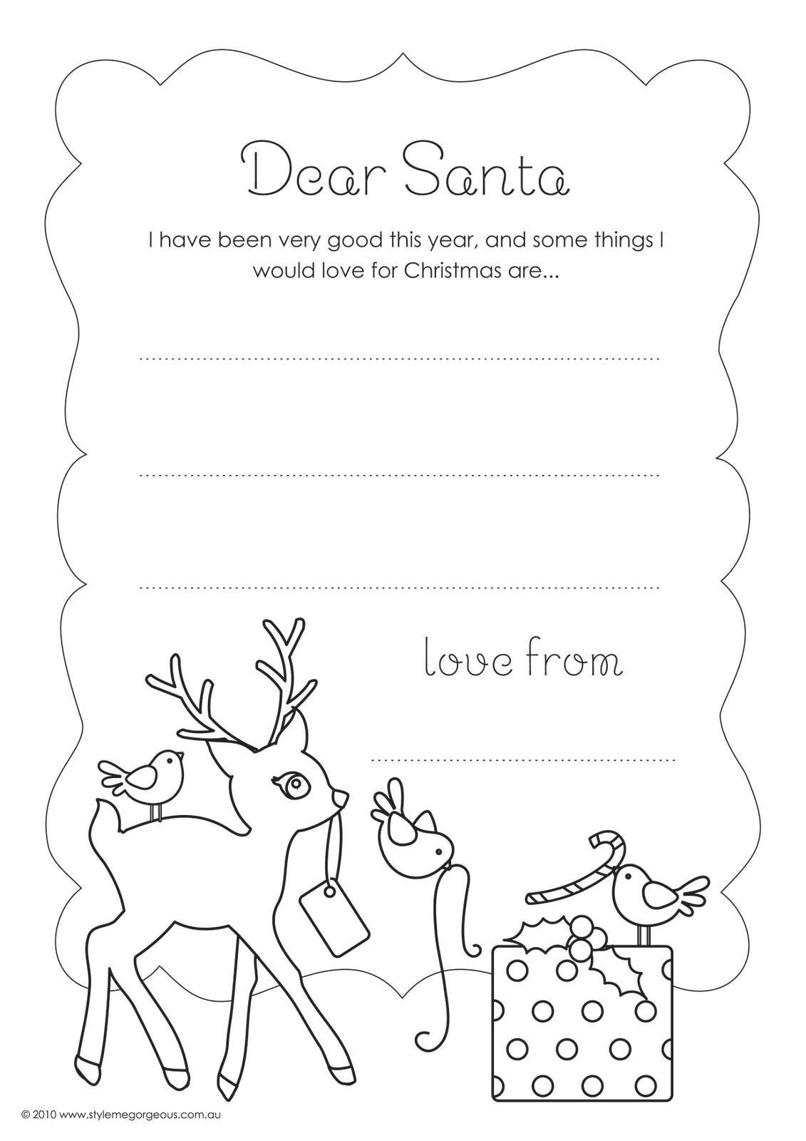 Dear Santa Coloring With Letter Page Fiscalreform