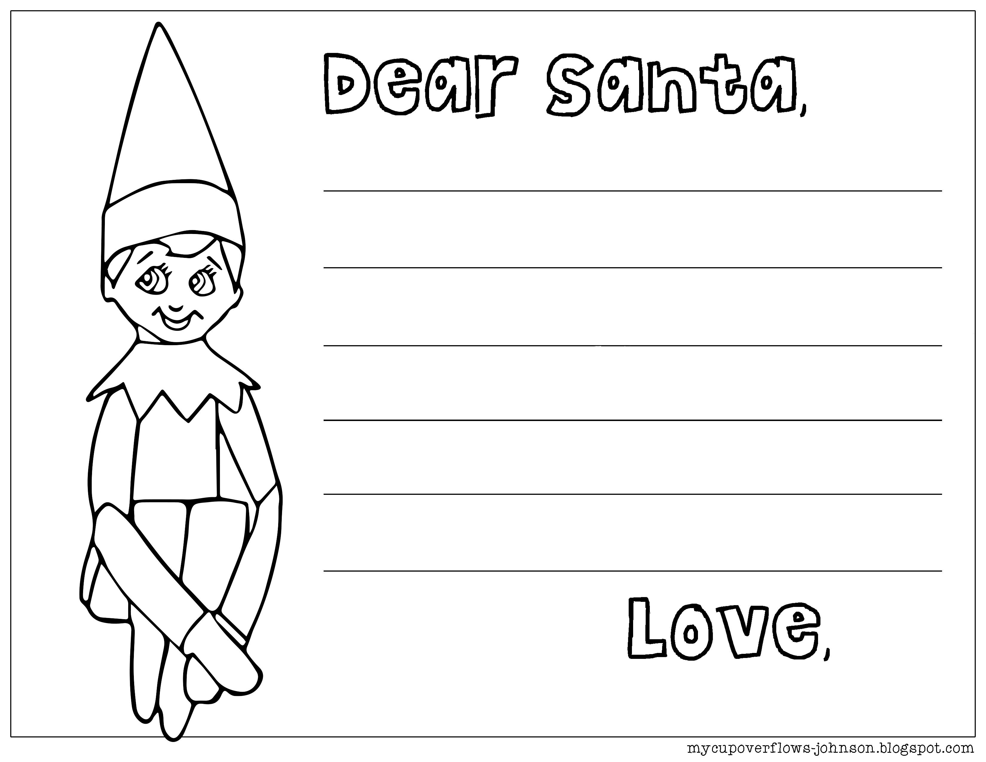 Dear Santa Coloring With Letter To From Elf On The Shelf Bible Pages And