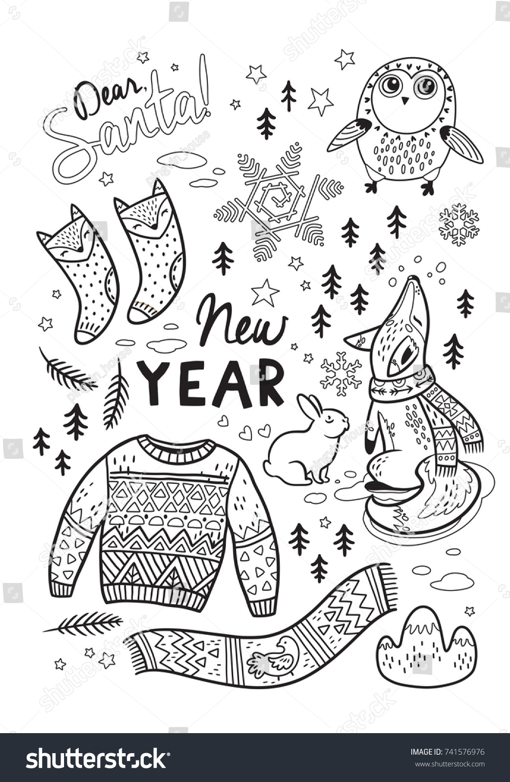 Dear Santa Coloring With New Year Card Winter Stock Vector Royalty Free