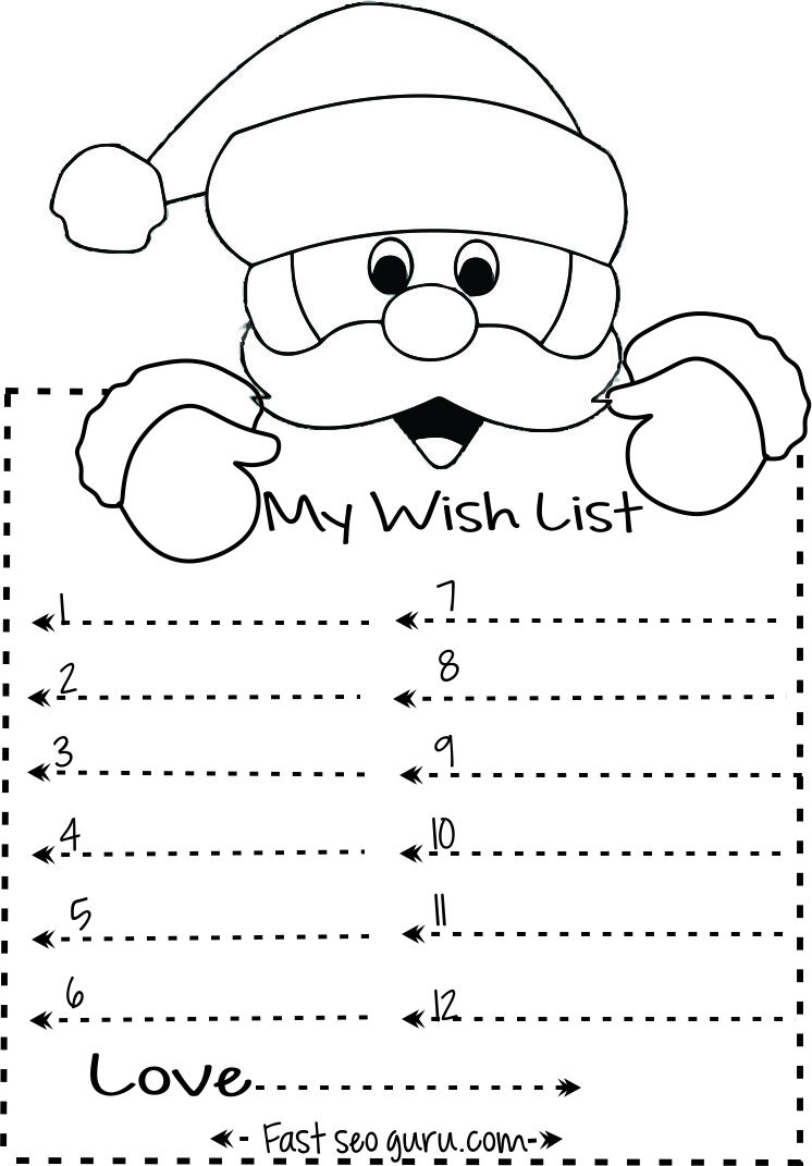Dear Santa Coloring With Print Out Christmas Wish List To Write Template Kids