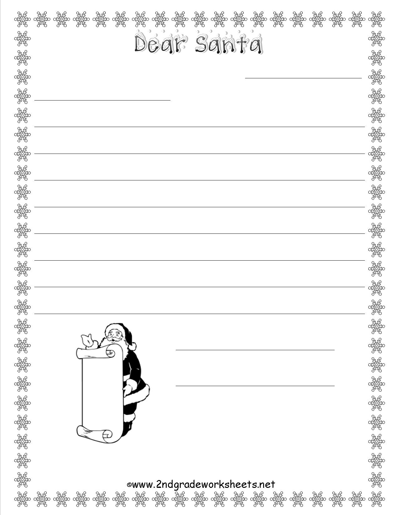 Dear Santa Letter Coloring Page With Christmas Worksheets And Printouts