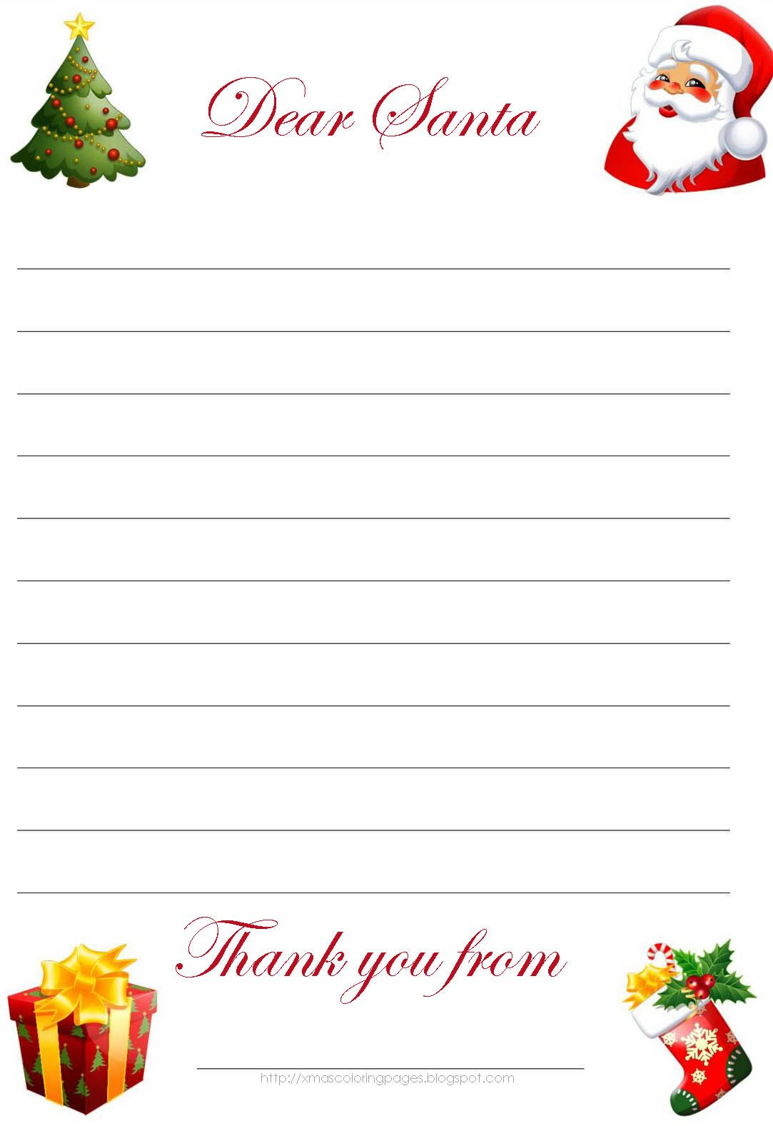 Dear Santa Letter Coloring Page With Hundreds Of Free Printable Xmas Pages And Activity