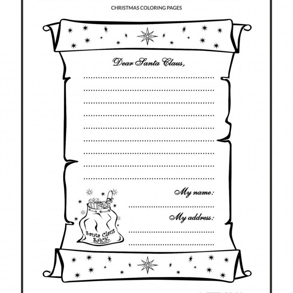 Dear Santa Letter Coloring Page With Pages Print Printable For Kids