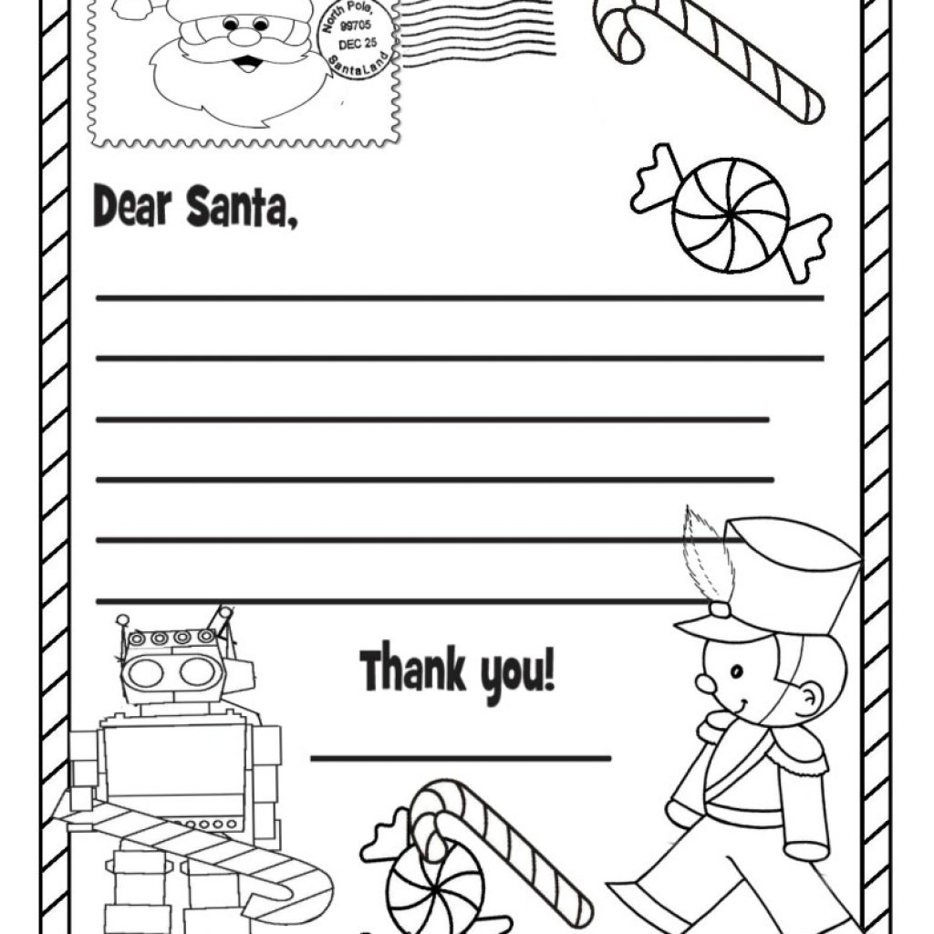 Dear Santa Letter Coloring Page With Wish List Pages