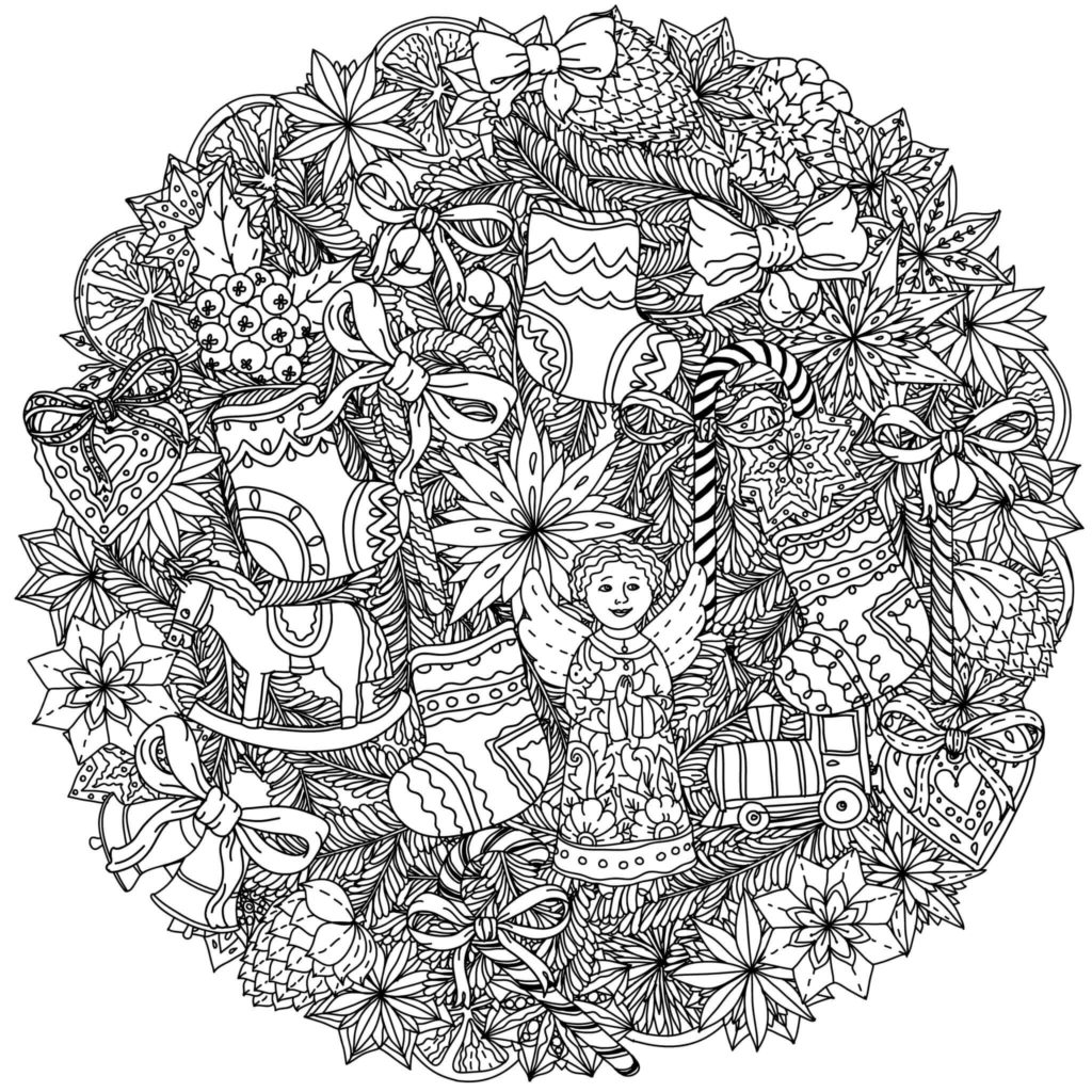 Detailed Christmas Coloring Pages For Adults With 101 Best Kids Printable