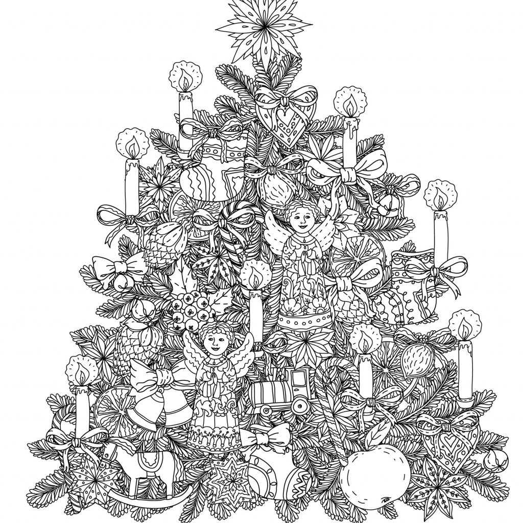 Detailed Christmas Coloring Pages For Adults With 2018 Dr Odd