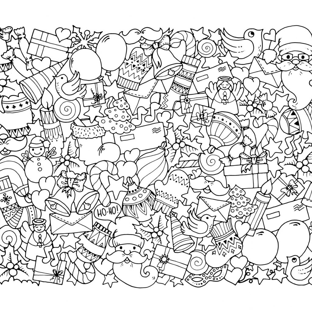 Detailed Christmas Coloring Pages Free Printable With For Adults