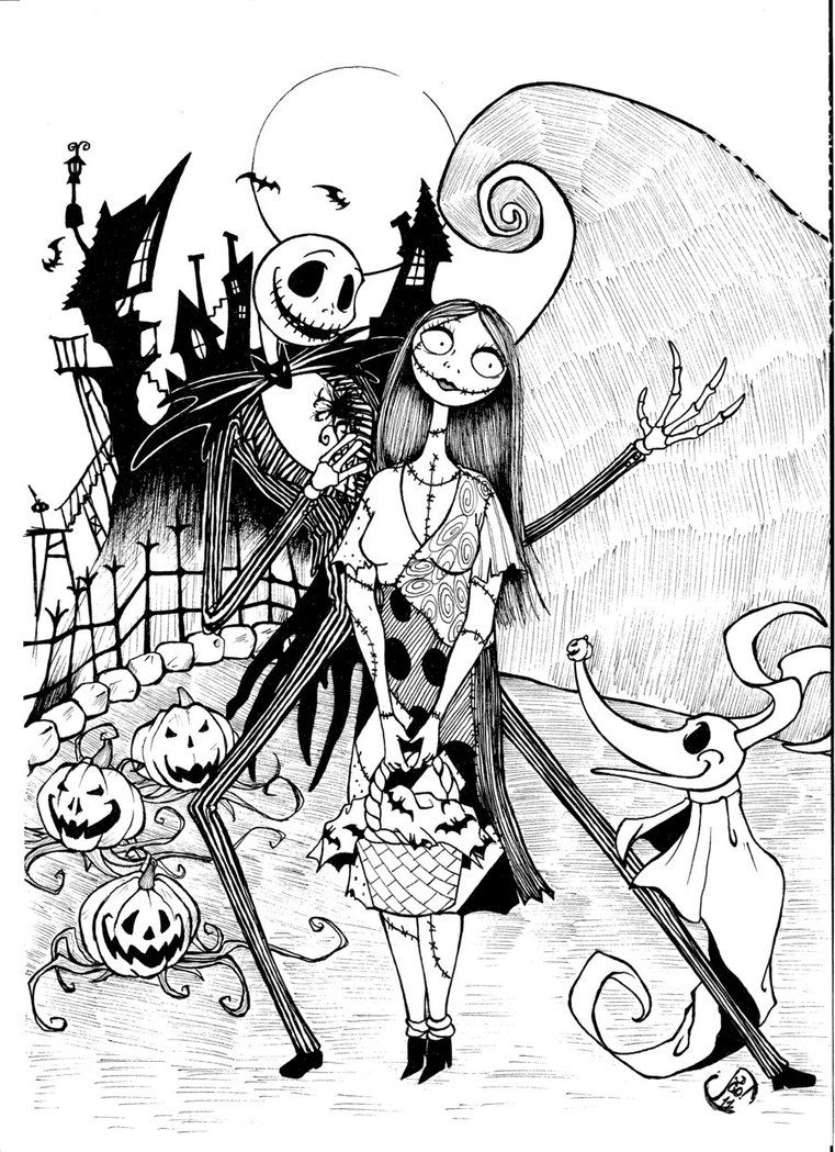 Disney Christmas Coloring Pages To Print Free With Jack And Sally Nightmare Before
