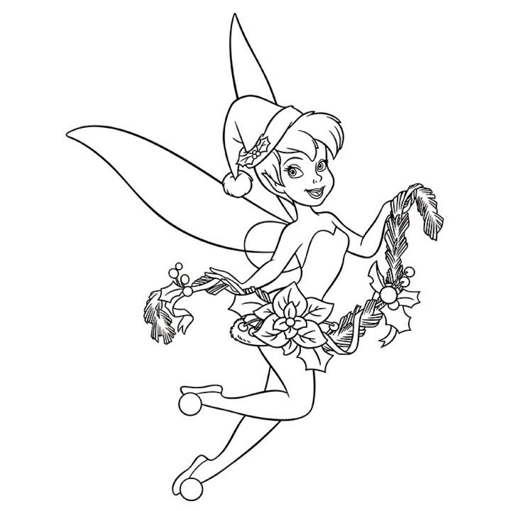 Disney Merry Christmas Coloring Pages With Tinkerbell Happy New Year