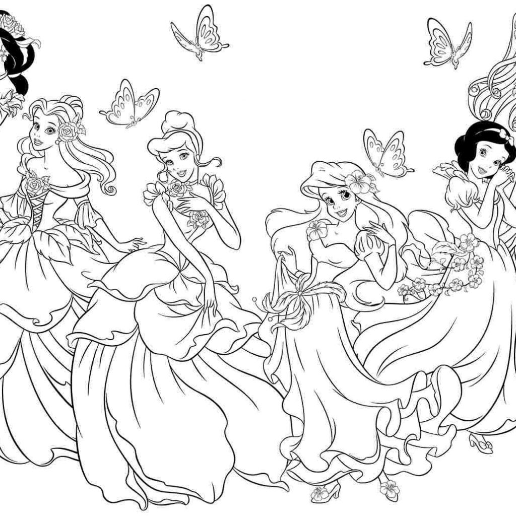 Disney Princess Christmas Coloring Pages Printable With To Color