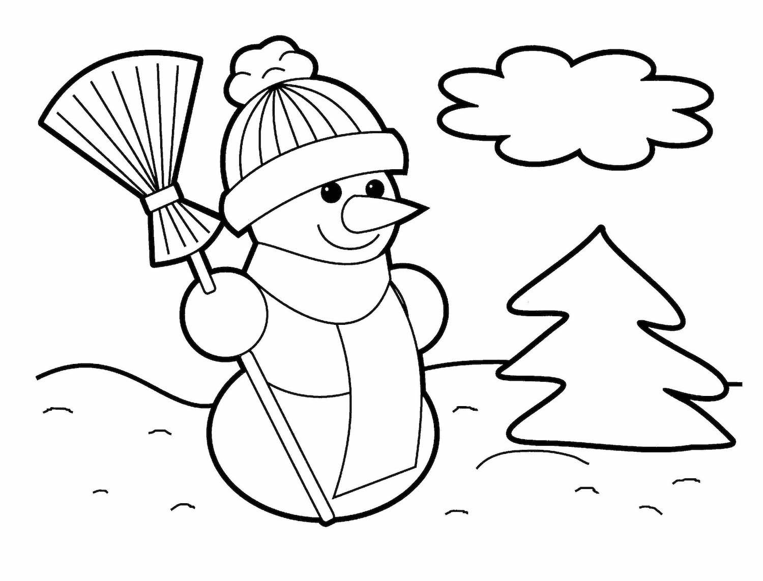 Easy Santa Coloring Pages With Christmas