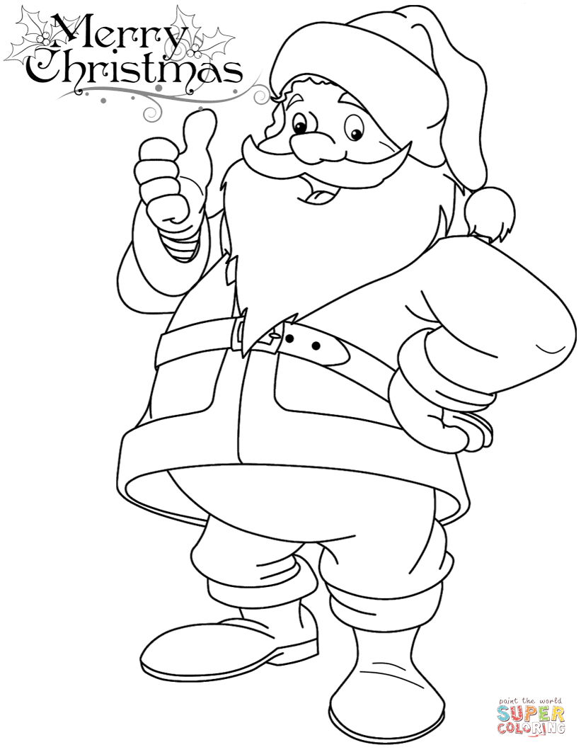 Easy Santa Coloring Pages With Funny Claus Page Free Printable