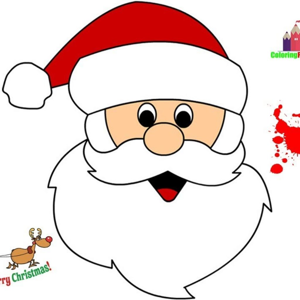 Easy Santa Coloring Pages With How To Draw Clause Face Christmas