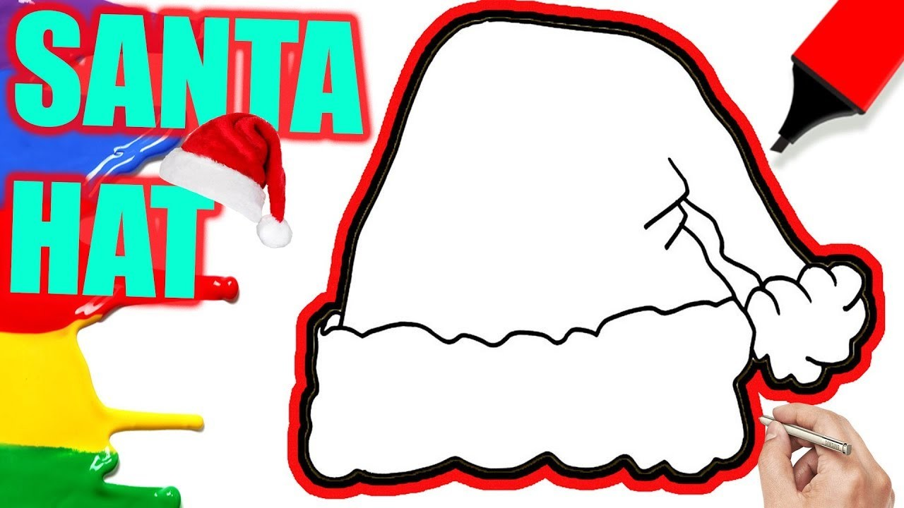 Easy Santa Coloring Pages With How To Draw Clause Hat Tutorial For KIds