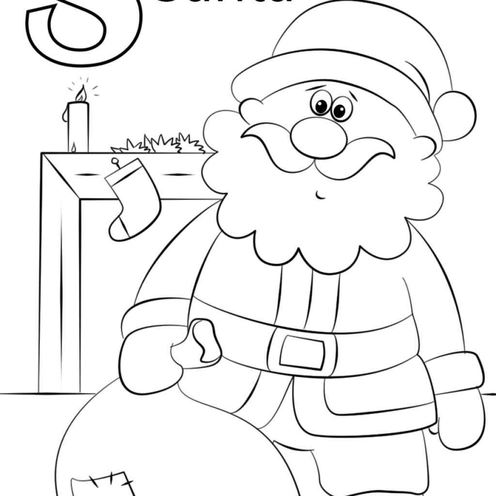 Easy Santa Coloring Pages With Letter S Is For Page Free Printable