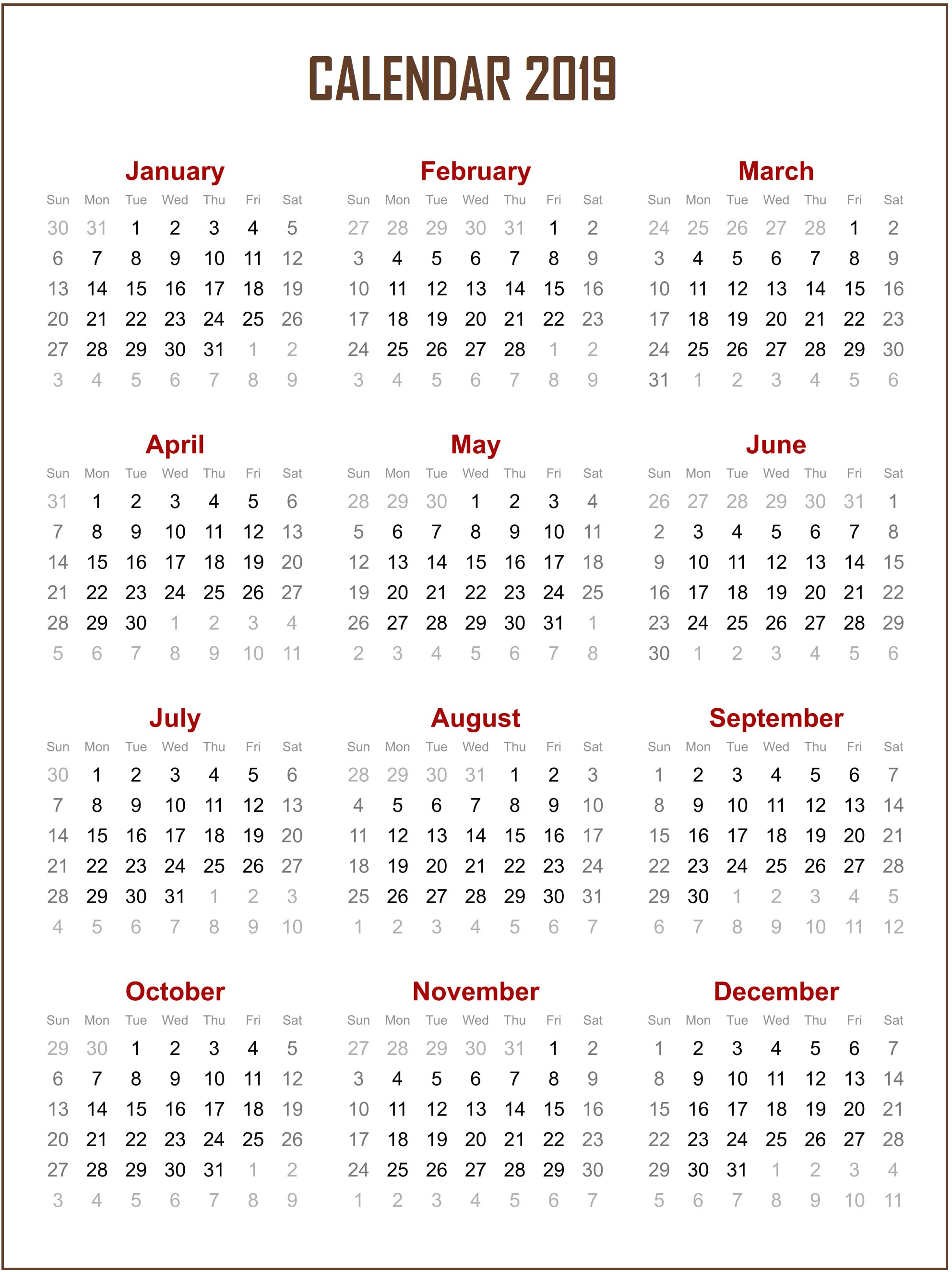 Editable 2019 Yearly Calendar With Free Blank Template July 2018