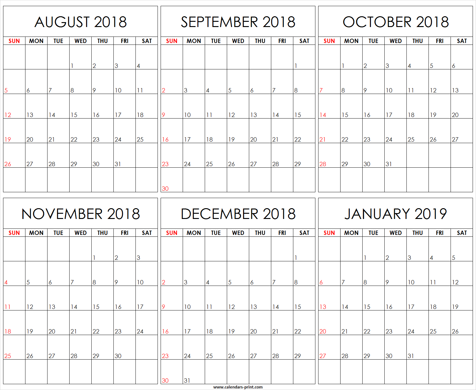 Editable 2019 Yearly Calendar With Six Monthly August 2018 To January Template