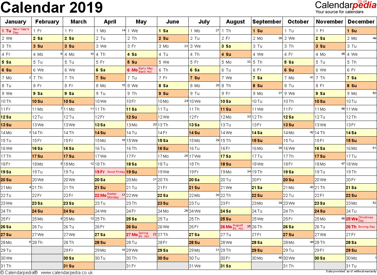 Editable 2019 Yearly Calendar With UK 16 Free Printable Word Templates
