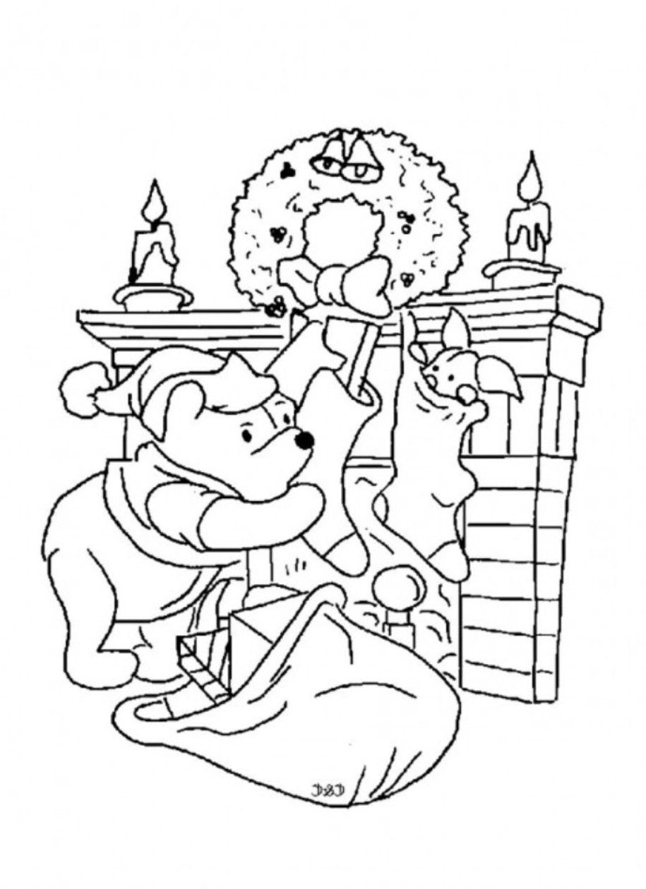 Eeyore Christmas Coloring Pages With Winnie Xmas Home
