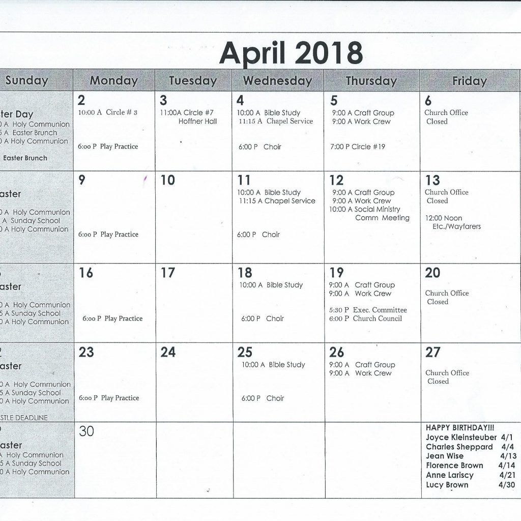 Elca Church Year Calendar 2019 With April 2018 St Paul S Evangelical Lutheran