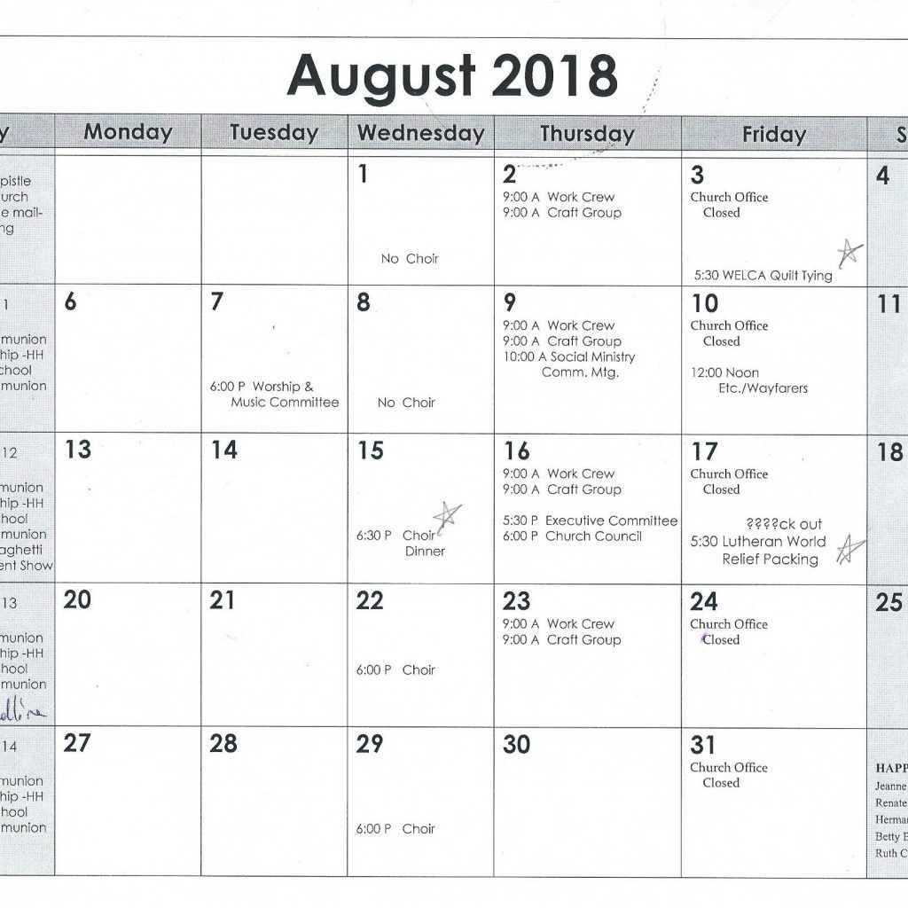 Elca Church Year Calendar 2019 With August 2018 St Paul S Evangelical Lutheran